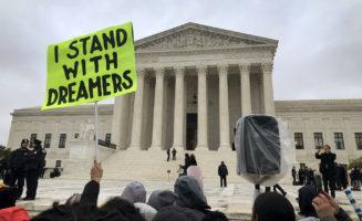 Protestors outside of the Supreme Court